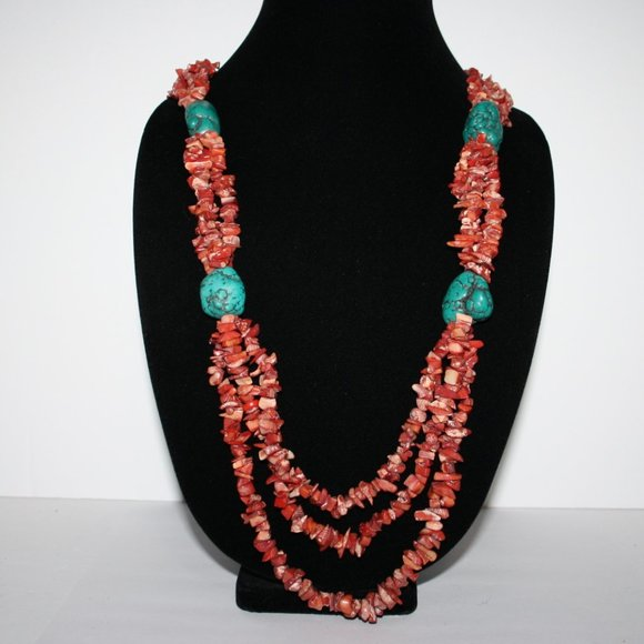 """Beautiful Coral and turquoise necklace 30"""""""